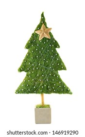 Small green Christmas tree with a golden star decoration isolated over white background