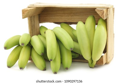 small green snack bananas in a wooden crate on a white background