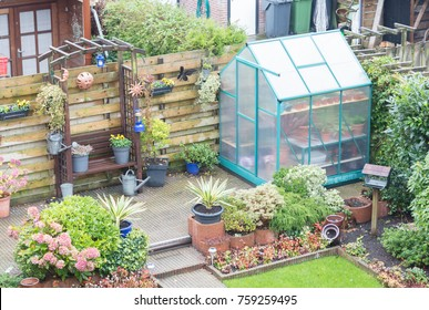 Small greenhouse in a garden in the Netherlands