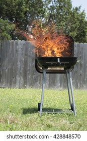 Small grill with a huge fire