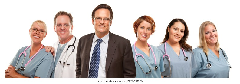 Small Group of Doctors or Nurses and Businessman Isolated on a White Background.