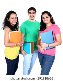Small Group Of Indian Students With Books In Hand Isolated On White Background