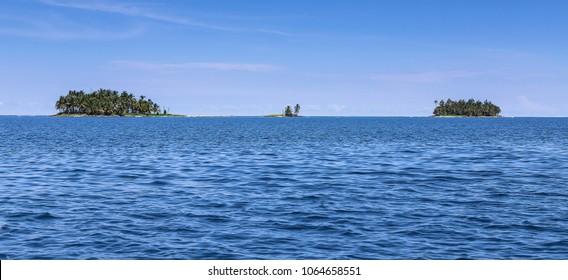 Small group of islets in Panama at the East Coast of Panama, San Blas Archipelago