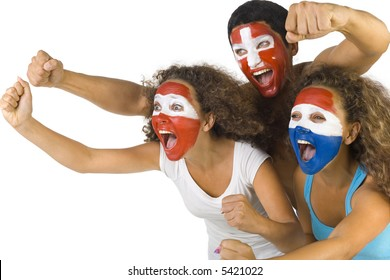 Small group of screaming, international sport's fans with painted flags on faces and with clenched fists. Side view, white background