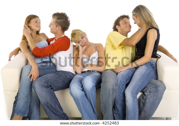 Astonishing Small Group Teenagers Sitting On Couch Stock Photo Edit Now Alphanode Cool Chair Designs And Ideas Alphanodeonline