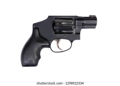 small hand gun revolver isolated white background firearm concept