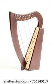 Small hand harp, Irish traditional classical music instrument, isolated background
