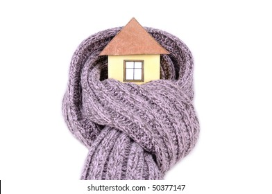 Small hand made house in the scarf