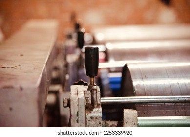 Small handles of a printing machine unique photo
