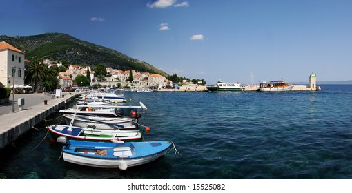 "Small harbor in beautiful town Bol on the island of Brac. Bol is one of the most famous tourist places in Croatia known of its beach ""Zlatni rat"" and windy conditions, great for wind surfing."