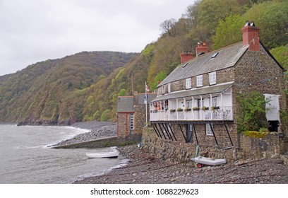 The small harbour in the fishing village Clovelly in the northern part of Devon, England