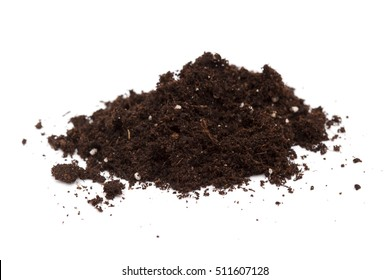 small heap of compost isolated on white background