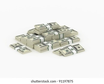 Small heap of money, 3d illustration on white background