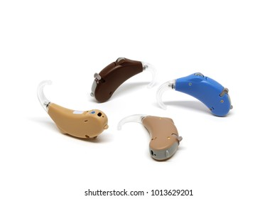 Small Hearing Aids device isolated on white background.