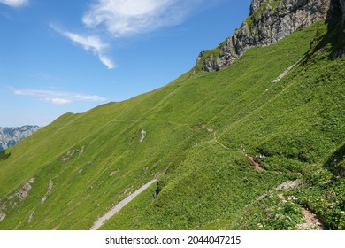 small hiking path over a steep green steep mountain in the summer of austria