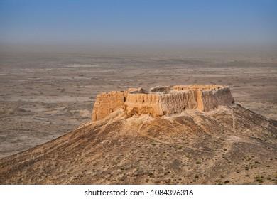 small hilltop mud-brick fort in Kyzylkum desert, Uzbekistan