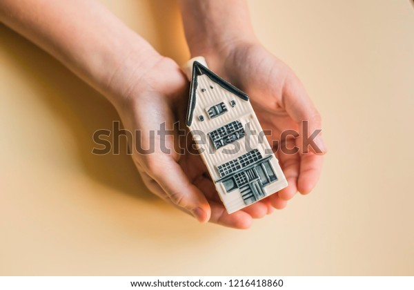 Small House Child Hands Home Care Stock Photo Edit Now 1216418860