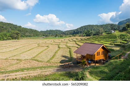 Small house in the middle of the field surrounded by mountains,beautiful and relaxation