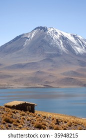 Small house near Lagunas Miscanti and Meniques in the Atacama desert near the Andes