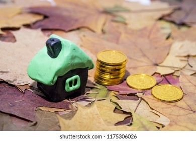 Small house on maple leaves. Autumn rental price concept. Abstract price increase photo.