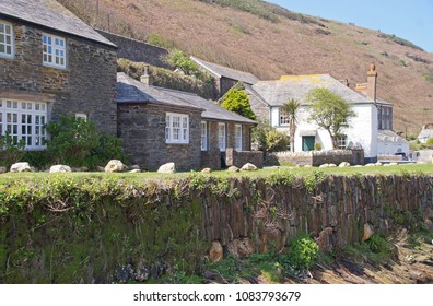 small houses in the small fishing village of Boscastle in Cornwall, England