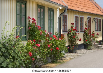 Small houses with flowers in Scandinavian style.