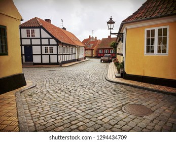 small houses in an small old village bornholm Denmark