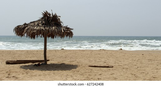 Small hut made with bamboo in Paradise beach, Pondicherry (puducherry)