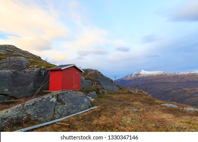 small hut in mountains, norway