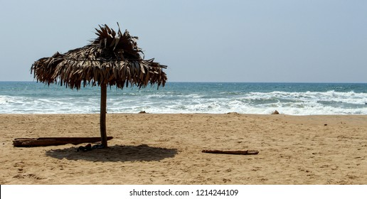 Small hut in a sunny day made with bamboo at Paradise beach(man-made beach) , Pondicherry (puducherry), India