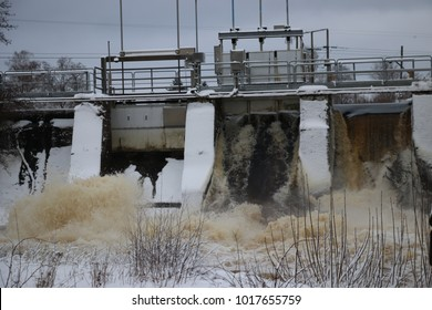 Small hydroelectric dam in southern sweden releases excess water
