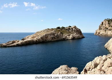 small Ibiza island, Views of Ibiza Balearic Islands, blue sea,Mediterranean sea, favorite destination of foreign tourists in Spain