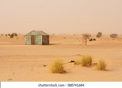 Small improvised house in the Sahara Desert, in Mauritania