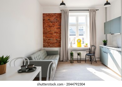 Small interior of loft apartment in industrail style with window and bricky wall. Cozy living room and kitchen with furniture, sofa and table with chairs.