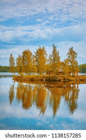 Small Island with a House among Birches in the Middle of the Daugava River, Latvia