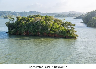 Small island with jungle of the Panama Canal.