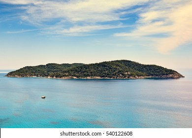 The small island Spetsopoula opposite Spetses, Greece