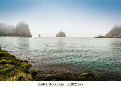 small islands  in the fog off the Washington coast on the La Push, Native American Reservation, USA