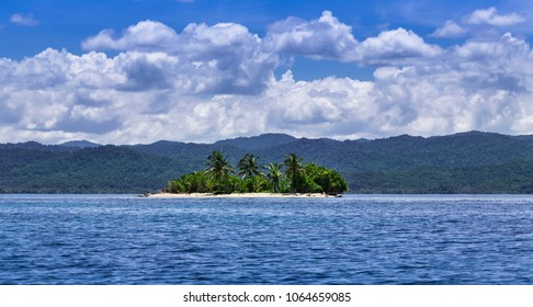 A small islet in Panama at the East Coast of Panama, San Blas Archipelago