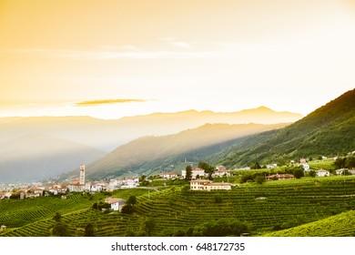 small italian town of valdobbiadene on hills at sunset