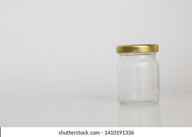 small jar on white background