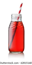 Small juice bottle with straw isolated on white