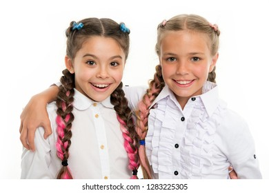 small kid fashion. Childhood happiness. Friendship and sisterhood. small girl children with perfect hair. childrens day. Back to school. Happy little sisters. Beauty and fashion. Amazing story.