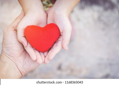 Small kid hands holding heart