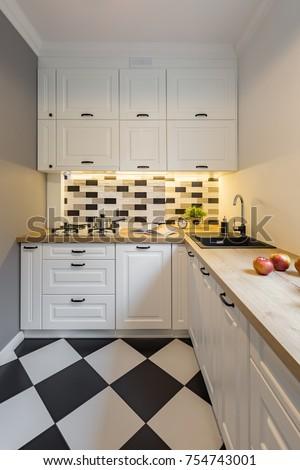 Small Kitchen Modern Black White Floor Stock Photo (Edit Now ...