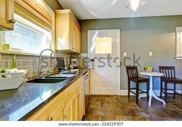 Small Kitchen Room Maple Storage Cabinet Stock Image ...