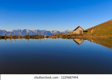 Small lake near Alm Mariech (Malga Mariech), Monte Cesen,Pianezze, Valdobbiadene, Veneto