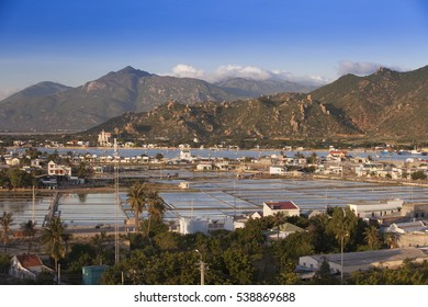 A small lake for the production of salt, on the outskirts of Phan Rang in the mountainous of Ninh Thuan, Vietnam