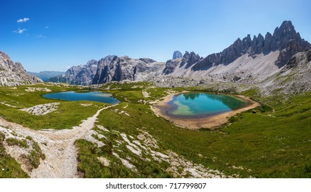 Small lakes beneath rifugio Locatelli. Crode Fiscaline, Croda del Toni and Monte Paterno around