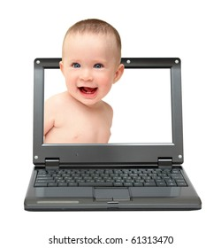 small laptop with laughing baby on screen